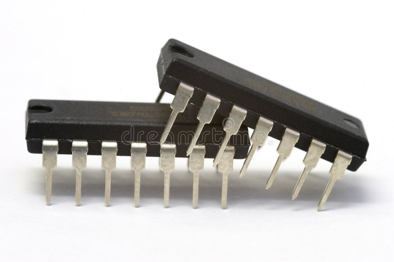 Electronic love. Integrated circuit stock photo