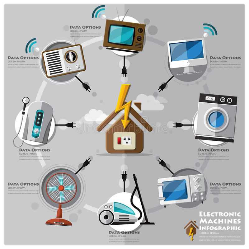 Electronic Machine And House Flat Icon Business Infographic Stock ...