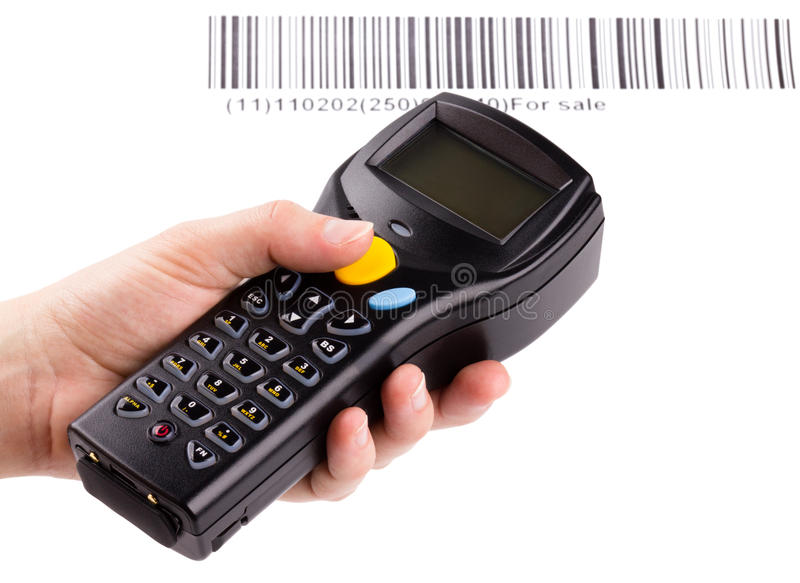 Electronic manual scanner of bar codes royalty free stock photography