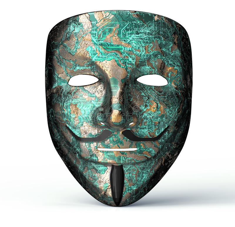 Electronic mask of a computer hacker stock illustration