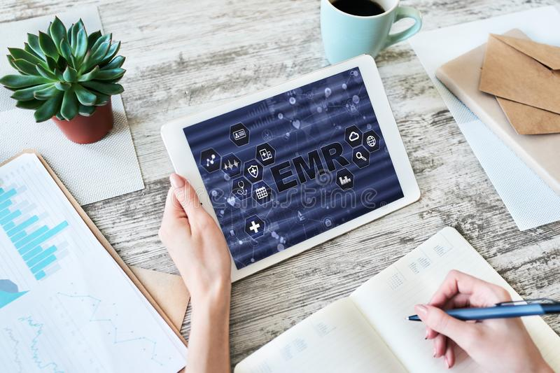 Electronic medical Health record information system on device screen. Modern technology in medicine as concept. Electronic medical Health record information stock images