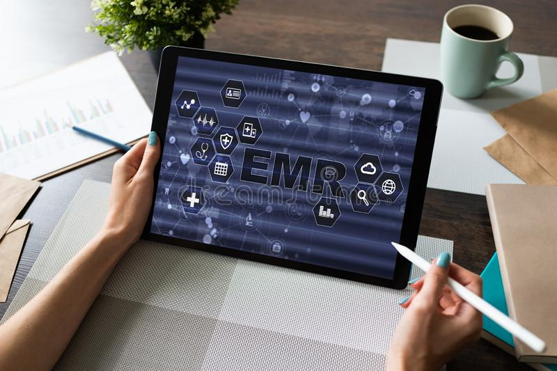 Electronic medical Health record information system on device screen. Modern technology in medicine as concept. Electronic medical Health record information stock photography