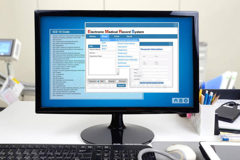 Electronic medical record in hospital. stock photography