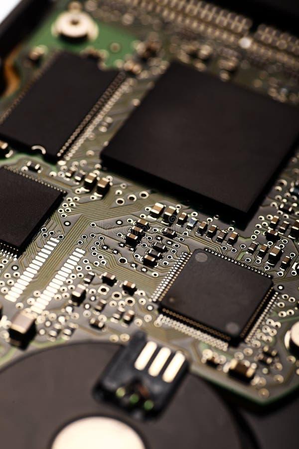 Electronic micro circuit. Vertical shot of an electronic micro circuit royalty free stock image