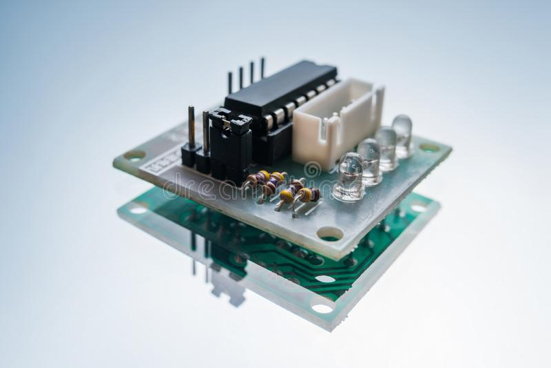Electronic micro detail robotics engineering. Electronic micro detail on white background. component for robotics engineering. technology innovation stock photos