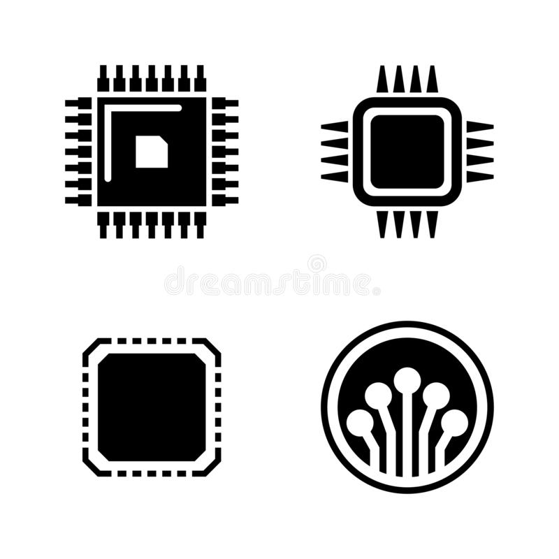 Electronic Microchip. Simple Related Vector Icons stock illustration