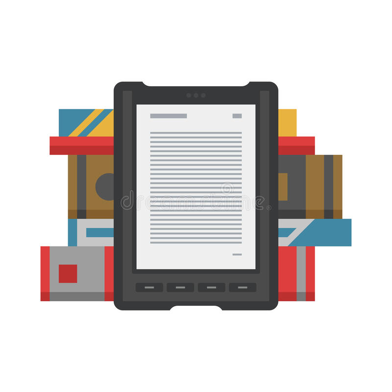 Electronic mobile book with paper books icon. Tablet computer books for reading. Modern device with cloud technology. Mobile education concept. Electronic royalty free illustration