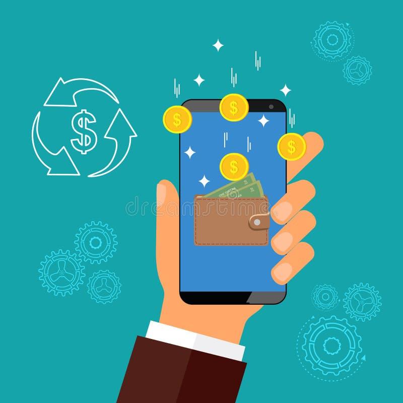 Electronic money. Replenishment of e-wallet. Vector illustration stock illustration