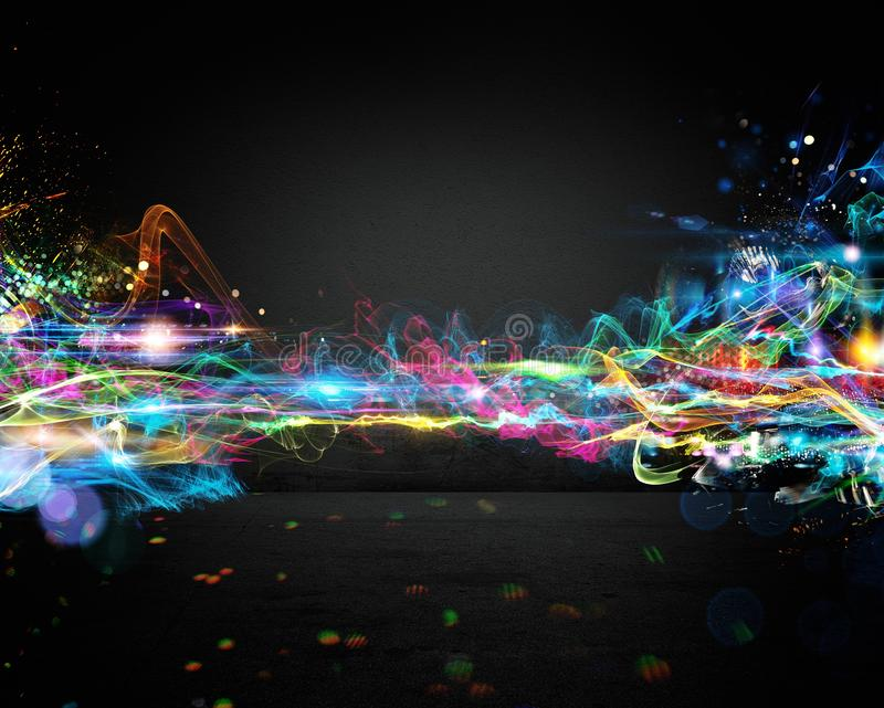 Electronic music effect. Background of bright colored and brilliant trails royalty free illustration