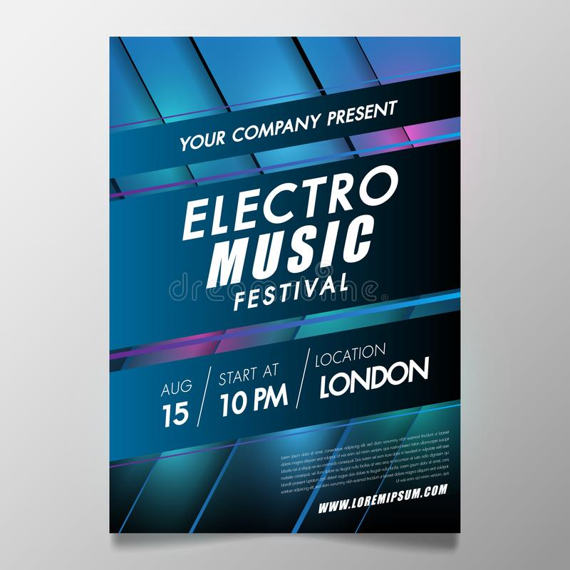 Electronic Music festival and club party Covers poster with abstract gradient lines.Vector template design for flyer, presentation stock illustration