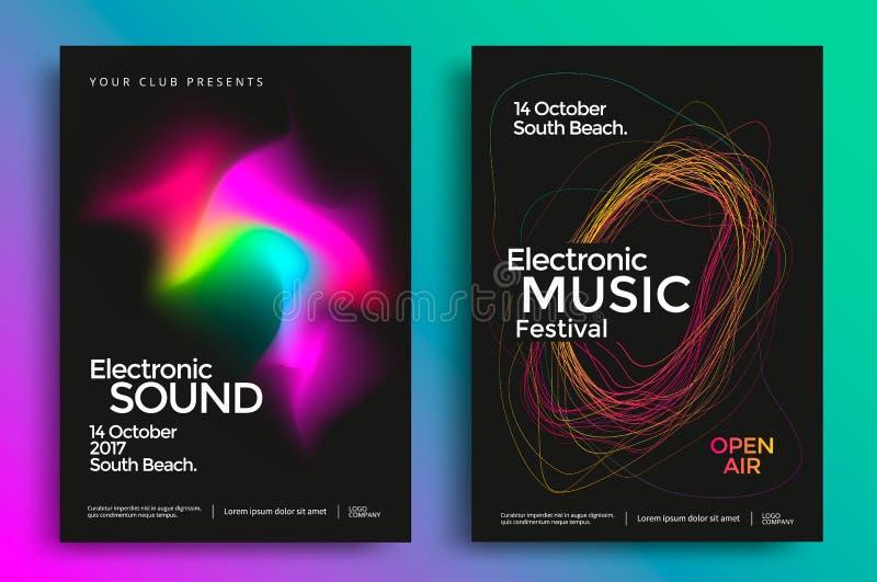 Electronic music festival poster vector illustration