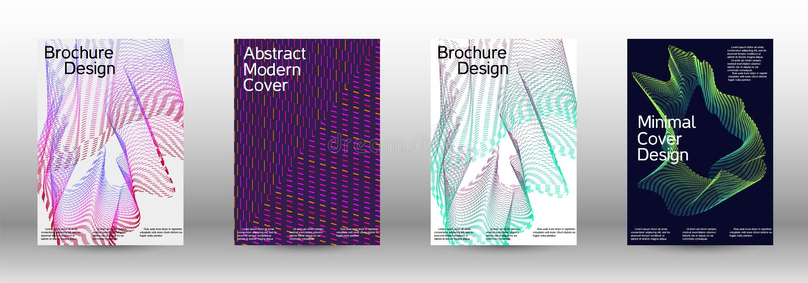 Cover design template set. Electronic music festival poster. A set of modern abstract backgrounds with abstract gradient linear waves. Fashionable style. The royalty free illustration