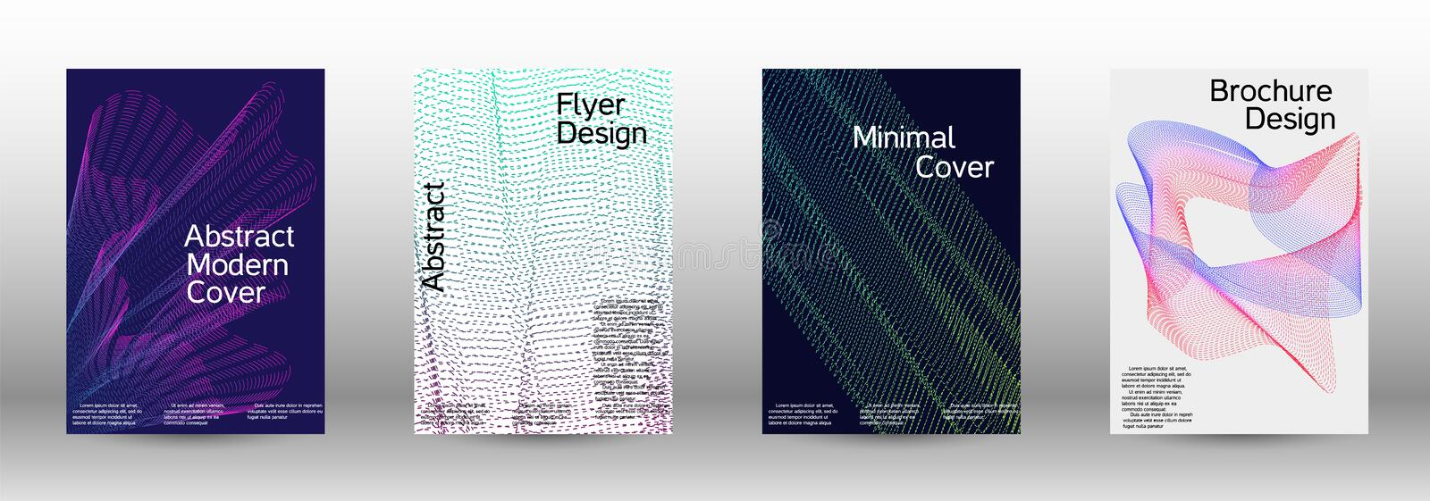 Cover design template set. Electronic music festival poster. A set of modern abstract backgrounds with abstract gradient linear waves. Vector sound flyer for royalty free illustration