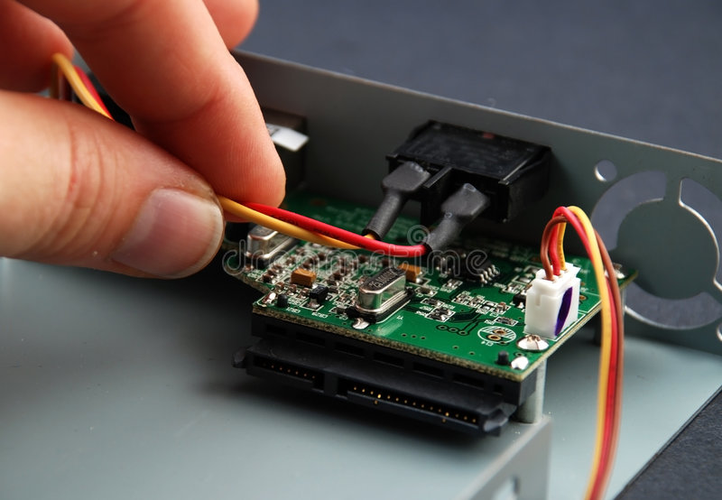 Electronic parts and circuits stock images