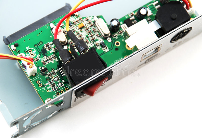 Electronic parts and circuits royalty free stock photos