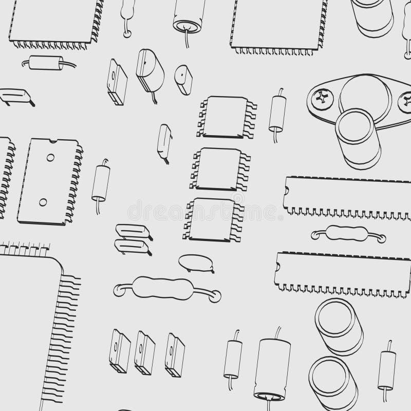 electronic parts stock illustration  illustration of