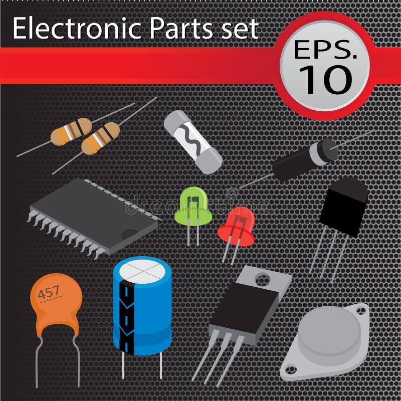 Electronic Parts set, flat style. vector illustration