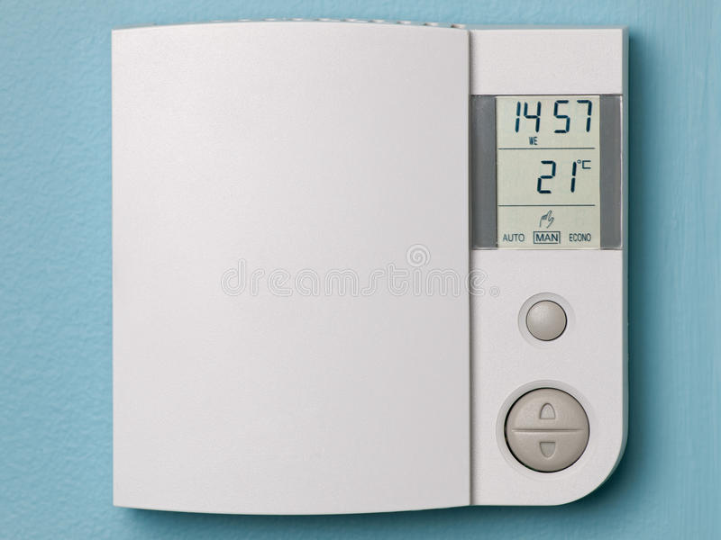 Electronic programmable thermostat stock photos