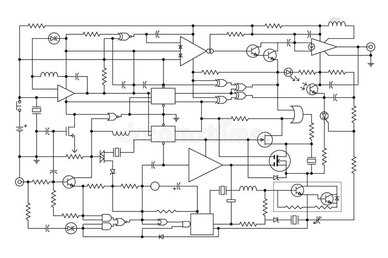 Electronic project. Schematic diagram - project of electronic circuit - graphic design of electronic components and semiconductor royalty free illustration