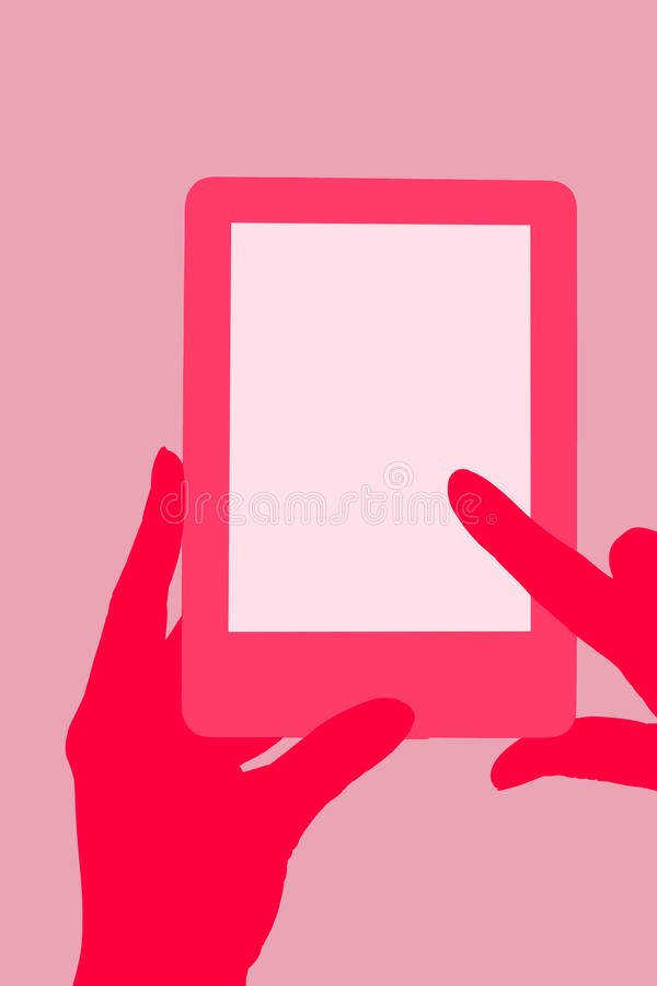 Electronic reader. Female hand touching a tablet. Reading, education and learning concept. Illustration royalty free illustration