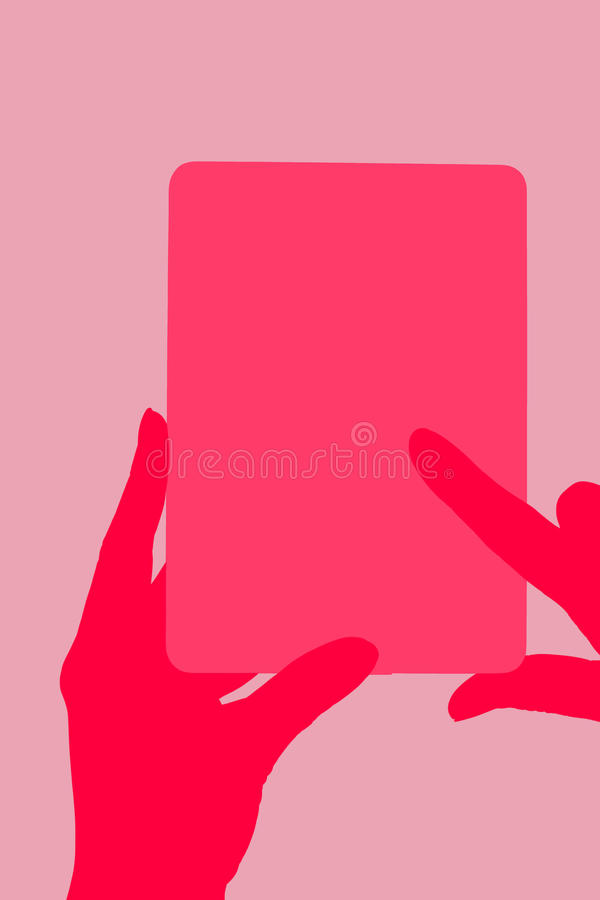 Electronic reader. Female hand touching a tablet. Reading, education and learning concept. Illustration stock illustration