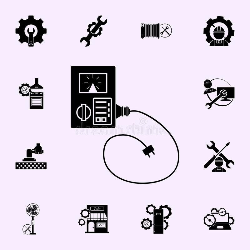 electronic repair calibration maintenance computer icon. Repair icons universal set for web and mobile stock illustration