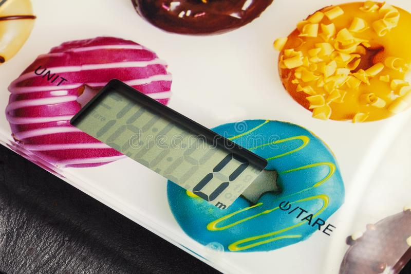 Electronic scales for food. Weight control. With diet royalty free stock photography