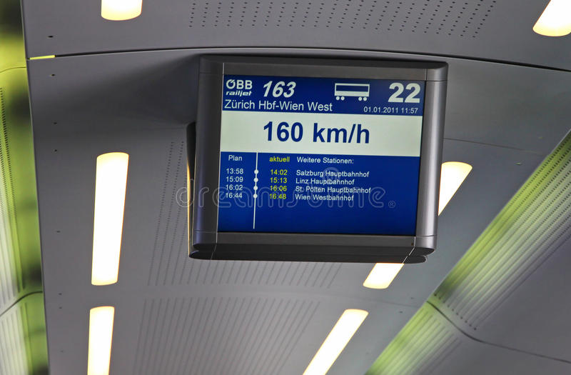 Electronic Schedule Board In The Train Editorial Photo