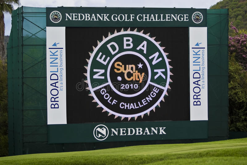 Electronic Scoreboard on the 18th Green royalty free stock images