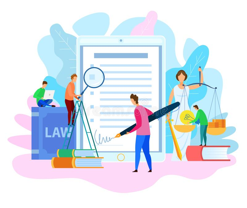 Electronic Signature on Court Decision Vector. Electronic Signature. Court Decision. Themis Holding Justice Scale. Money and Lamp Idea on Scale. Intellectual vector illustration