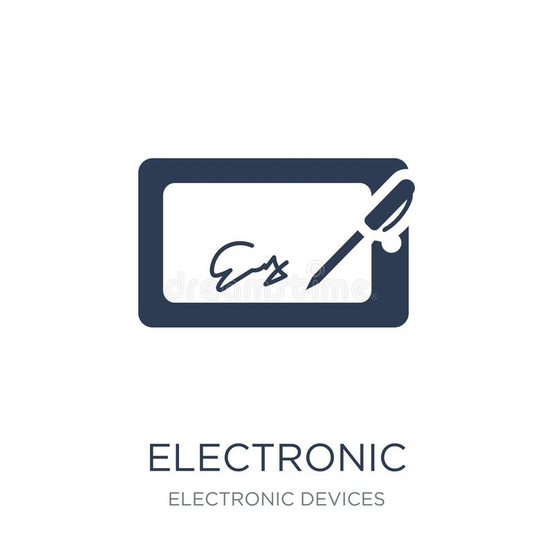 Electronic signature icon. Trendy flat vector electronic signatu. Re icon on white background from Electronic devices collection, vector illustration can be use royalty free illustration