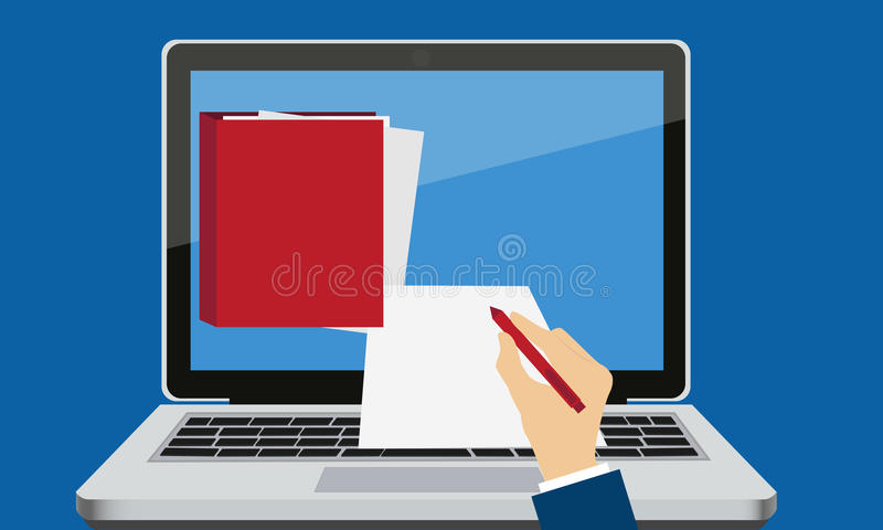 Electronic signature. Laptop with documents and hand with pen. Business concept vector illustration