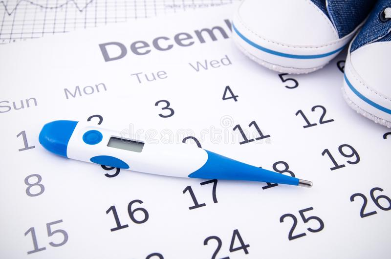 Electronic thermometer in fertility concept. On calendar stock image