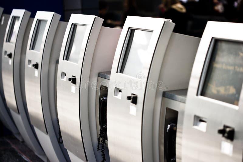 Electronic ticket dispensers stock photos