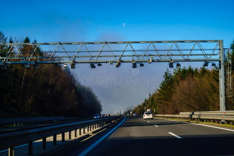 Electronic toll system on highway in Slovenia, A1 highway stock photography