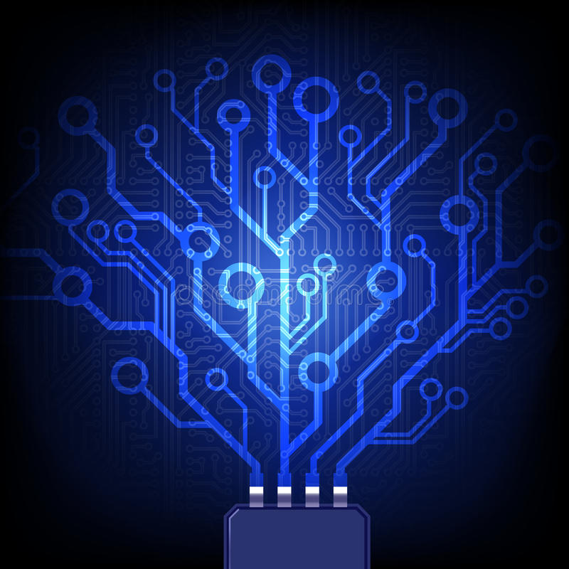 Electronic tree. Vector circuit board background. stock illustration