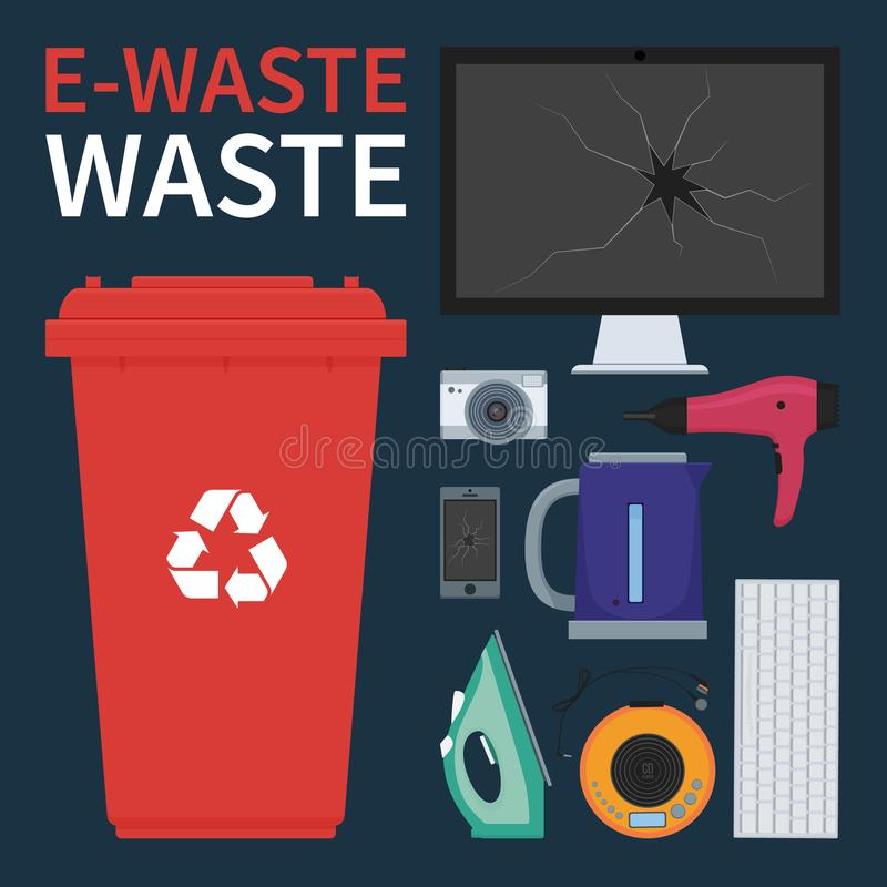 Electronic waste bin vector royalty free illustration