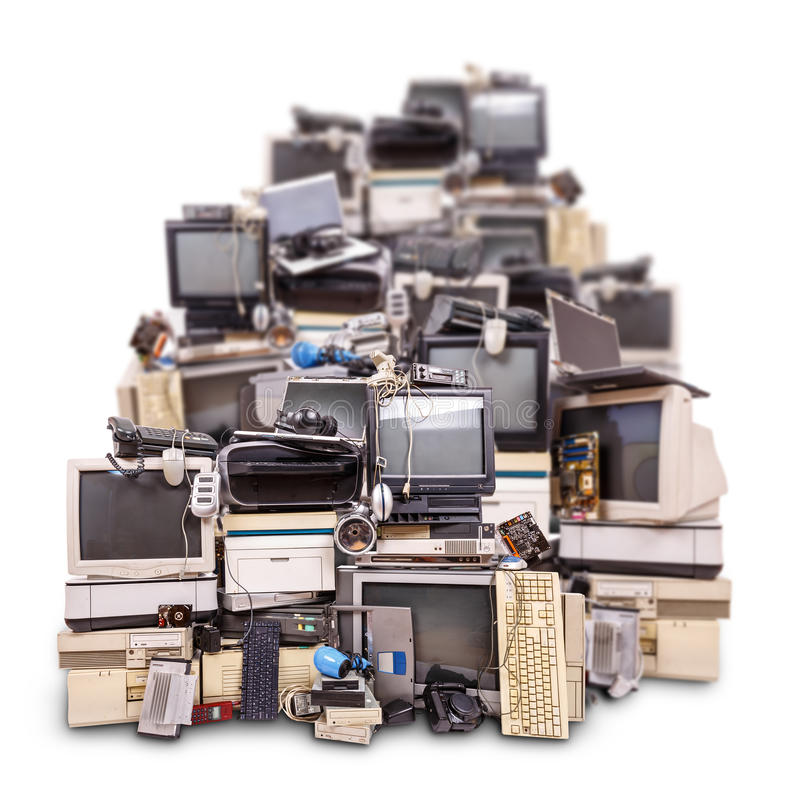 Electronic waste ready for recycling royalty free stock images