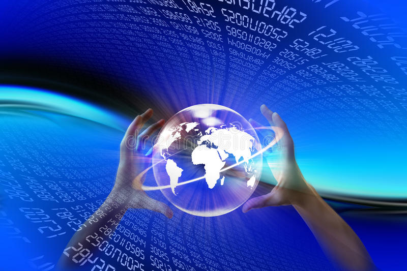 Electronic world. Electronic background composed by a series of computerized data and in the foreground two hands that sustain the world stock illustration
