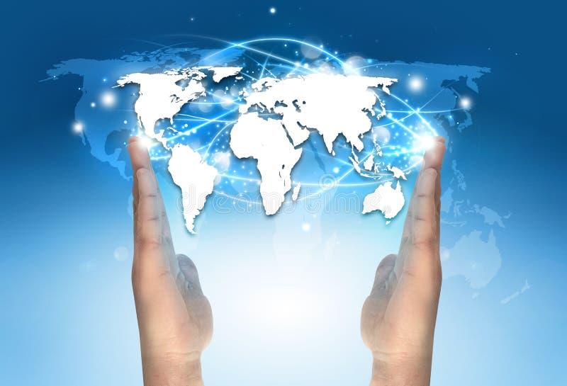 Electronic world map communication stock image