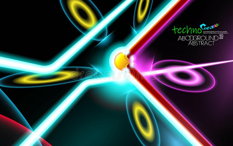 Electronical dj neon glowing hi-tech futuristic abstract background. Design Sample of technology of the future music. Layout cover stock illustration
