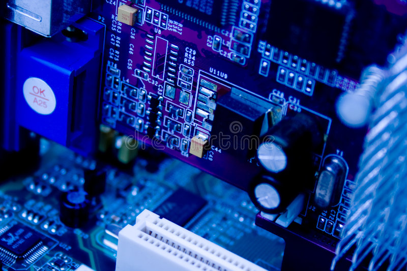 Electronics. Microelectronics, blue board, development electrical