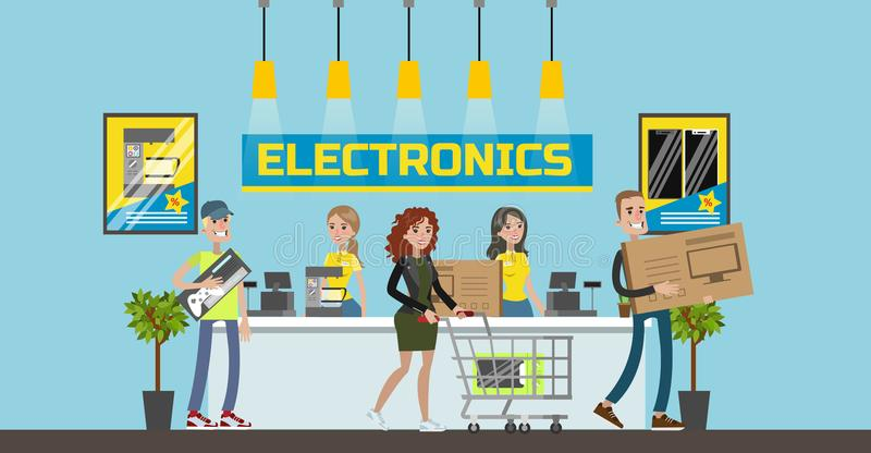 Electronics center mall. Electronics center mall room interior with customers. Checkout and counter royalty free illustration
