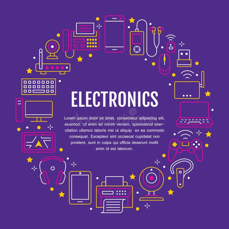 Electronics circle poster with flat line icons. Wifi internet connection technology signs. Computer, smartphone, laptop. Fax, game controller, keyboard. Vector stock illustration