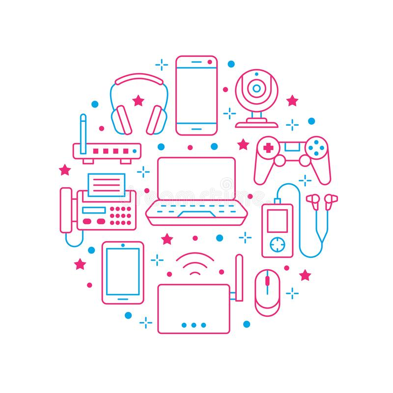 Electronics circle poster with flat line icons. Wifi internet connection technology signs. Smartphone, laptop, fax. Headphones, router, keyboard. Vector stock illustration