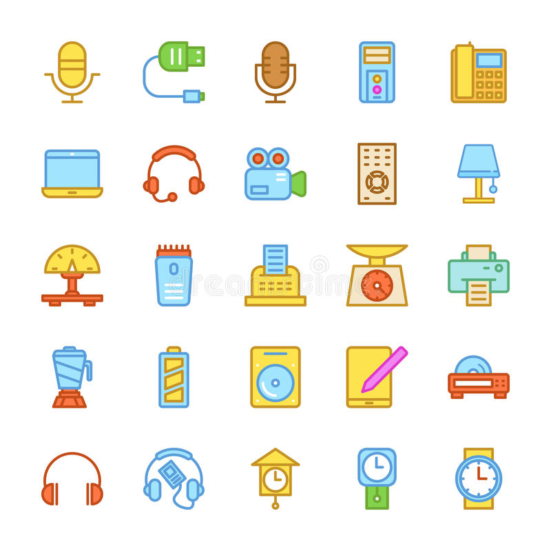 Free Electronics Colored Vector Icons 4 Stock Images - 83327984