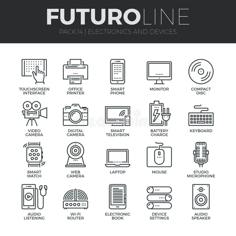Electronics and Devices Futuro Line Icons Set vector illustration
