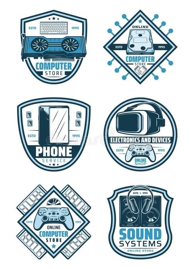 Electronics and devices retro badge shield design. Electronics and devices retro badge shield for digital gadget shop label. Computer, mobile phone and keyboard royalty free illustration