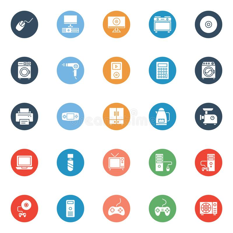 Electronics Equipment Isolated Vector Icons Set that can be easily Edited or Modified stock illustration