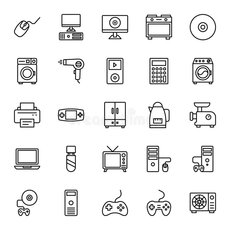 Electronics Equipment Isolated Vector Icons Set that can be easily Edited or Modified Electronics Equipment Isolated Vector Icon. Electronics Equipment Isolated stock illustration
